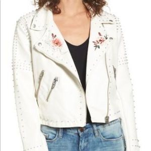 NWT. Blank NYC stud floral faux leather jacket